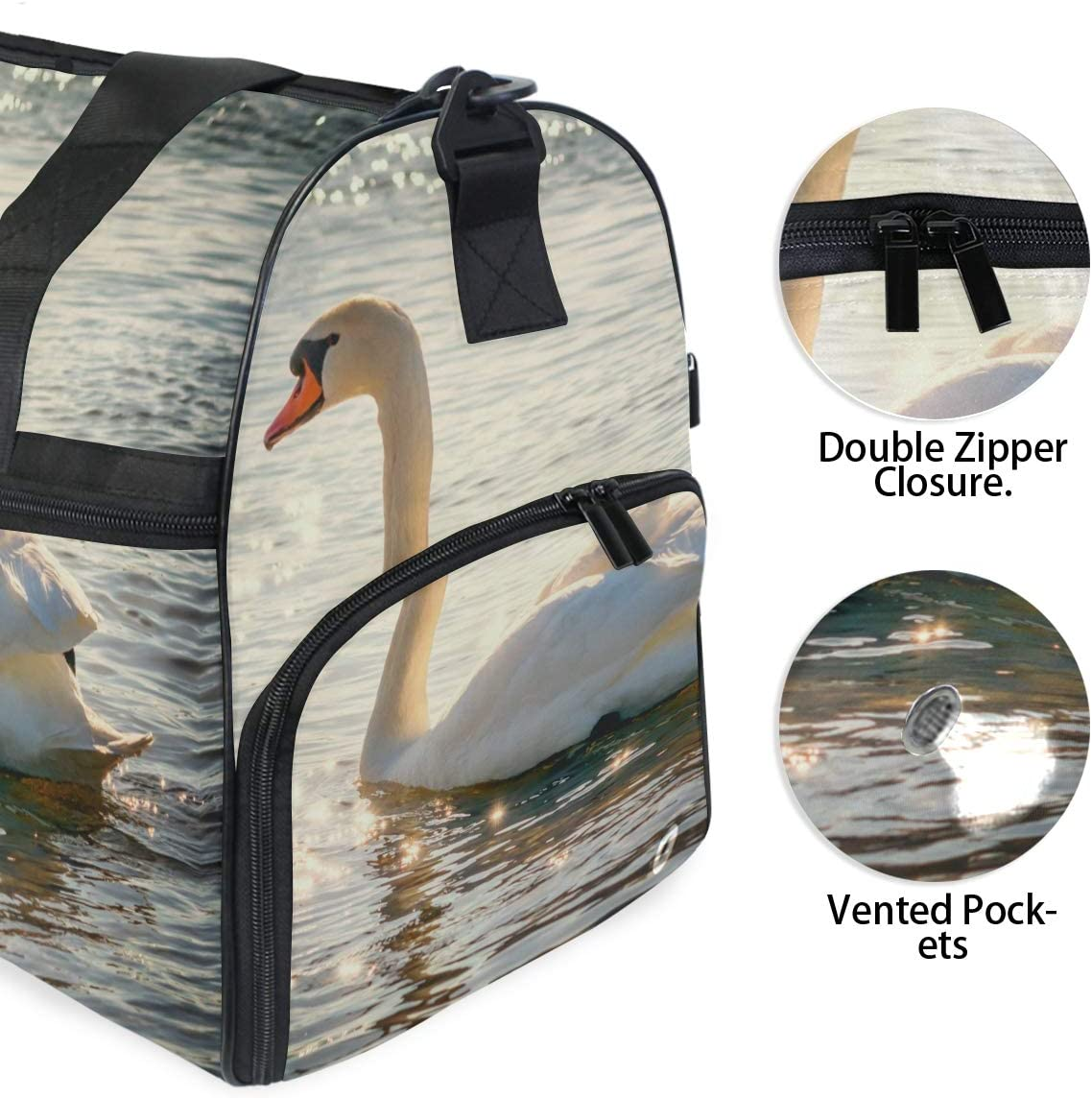 MUOOUM Swan On The Lake Large Duffle Bags Sports Gym Bag with Shoes Compartment for Men and Women