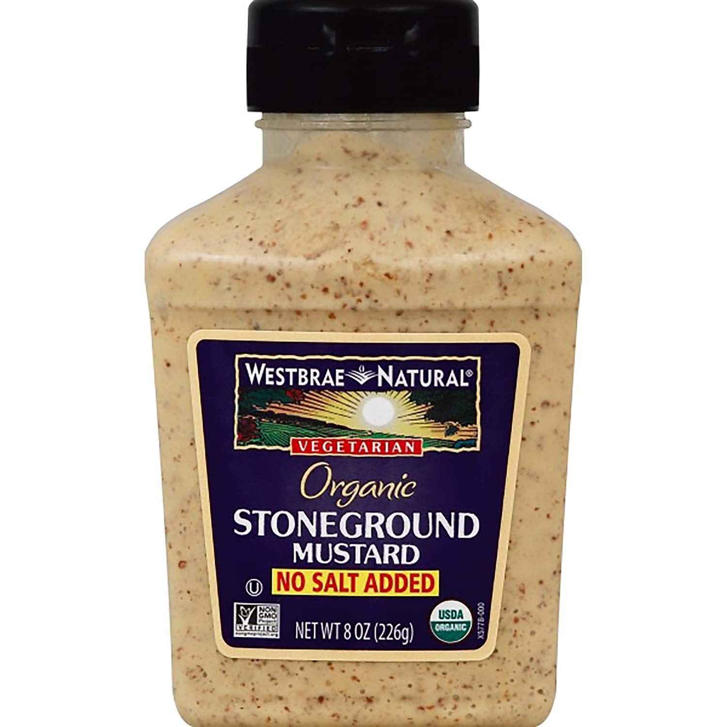 Westbrae Natural Stoneground Mustard, No Salt Added, 8 Ounce Bottle (Pack of 12)