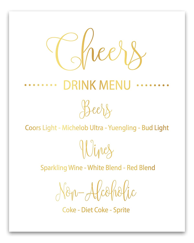 Amazon.com: Cheers Party Drink Menu Sign Bar Menu Wedding ...