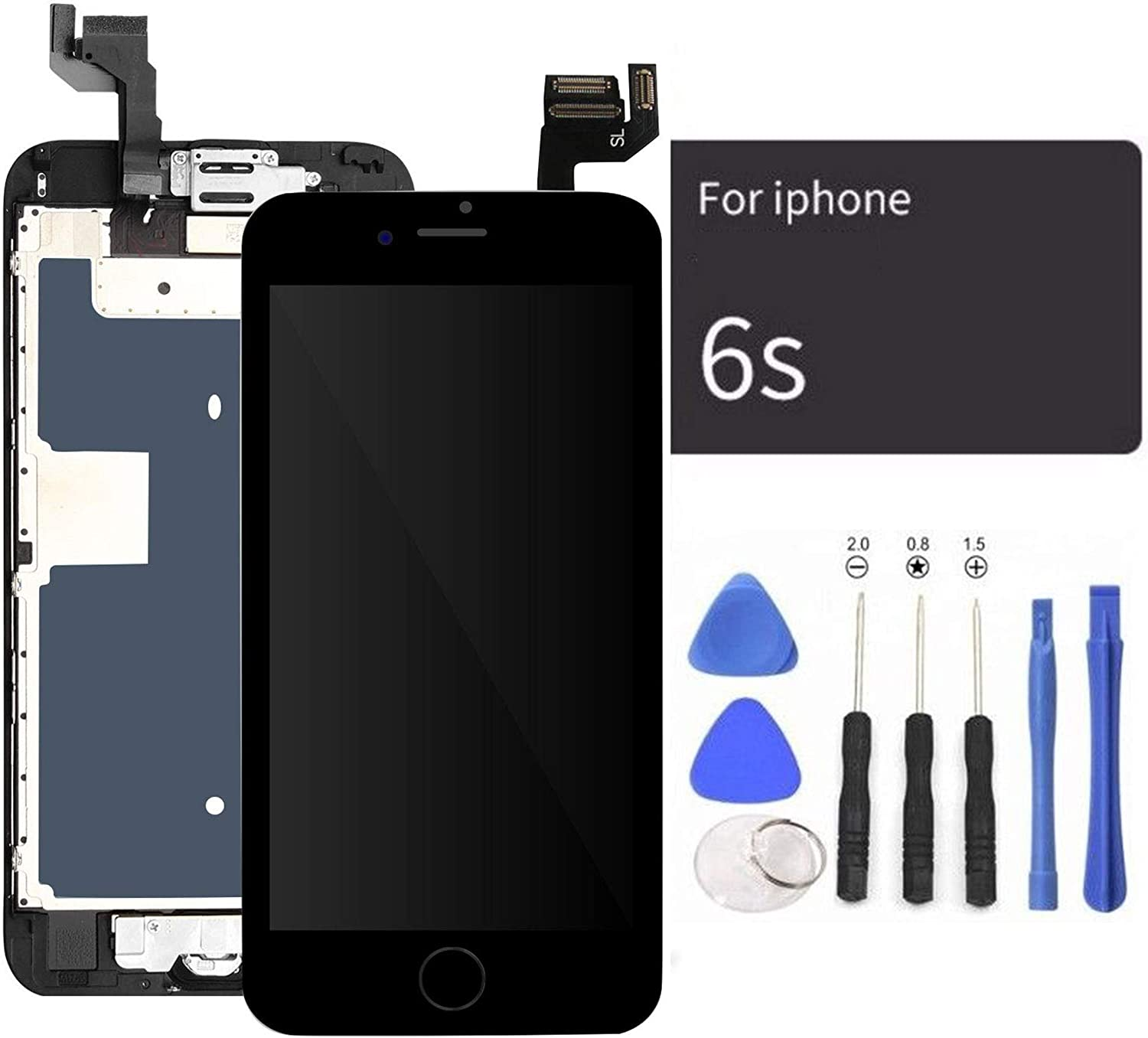 passionTR Black LCD Screen Replacement for iPhone 6S Plus 5.5 Inch with Front Camera Home Button Ear Speaker Proximity Sensor Full Complete Assembly Digitizer Display with Repair Tool kit