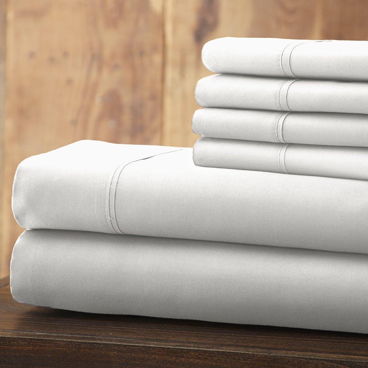 Spirit Linen 6 Piece Everyday Essentials 1800 Series Sheet Set, King, White by Spirit Linen, Inc Hotel 5th Ave
