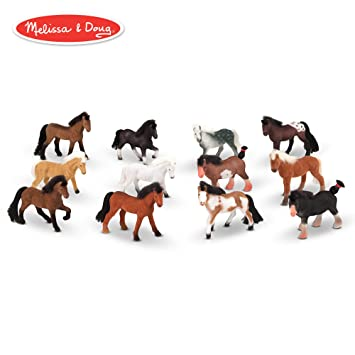 Melissa Doug Pasture Pals Play Set 12 Collectible Horses With Wooden Barn Shaped Crate