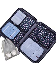 Voniry 8 Set Packing Cubes - Waterproof Mesh Compression Travel Luggage Packing Organizer with Shoes Bag(Bird)