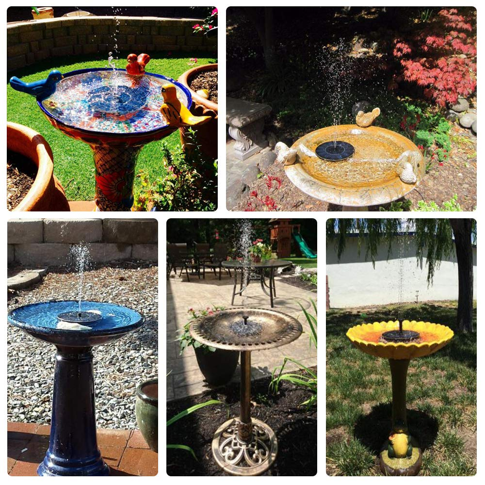 FaayFian 2W Solar Birdbath Fountain Pump, Cordless Solar Bird Attractive Pump for Outdoor Garden Decoration, Watering Submersible Pump for Pond, Swimming Pool, Fish Tank by FaayFian (Image #4)