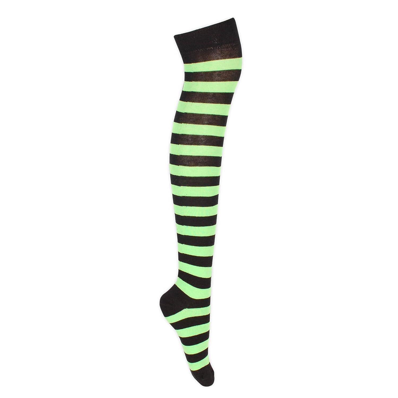 in cotone Calze parigine a righe larghe lunghezza fin sopra il ginocchio calze lunghe casual da donna autoreggenti