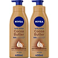 NIVEA Cocoa Butter Body Lotion, Vitamin E, Dry Skin, 400ml, Pack of 2