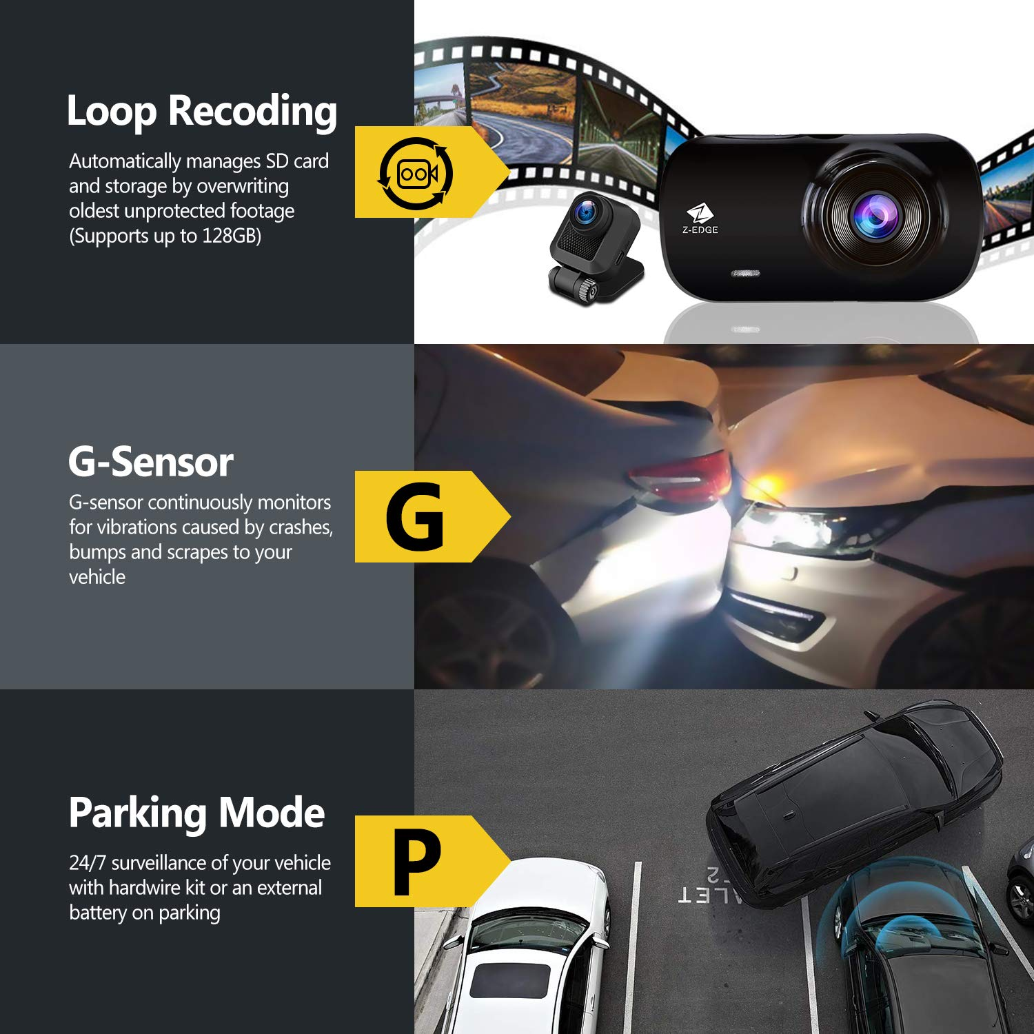 Z-Edge Z3D Dual Lens Dash Cam, 2.7'' Screen Ultra HD 1440P Front & 1080P Rear 150 Degree Wide Angle Front and Rear Dash Cam, Dashboard Camera with GPS, WDR, Low Light Vision, Parking Mode, G-Sensor by Z Z-Edge (Image #6)