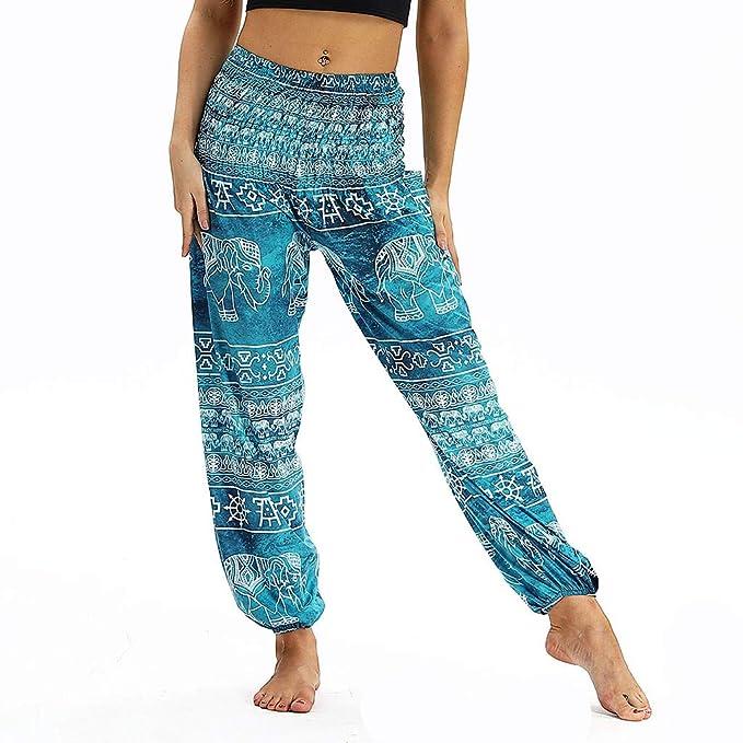 MrTom Mujeres Pantalones De Harén Hippie Pantalones de Yoga ...
