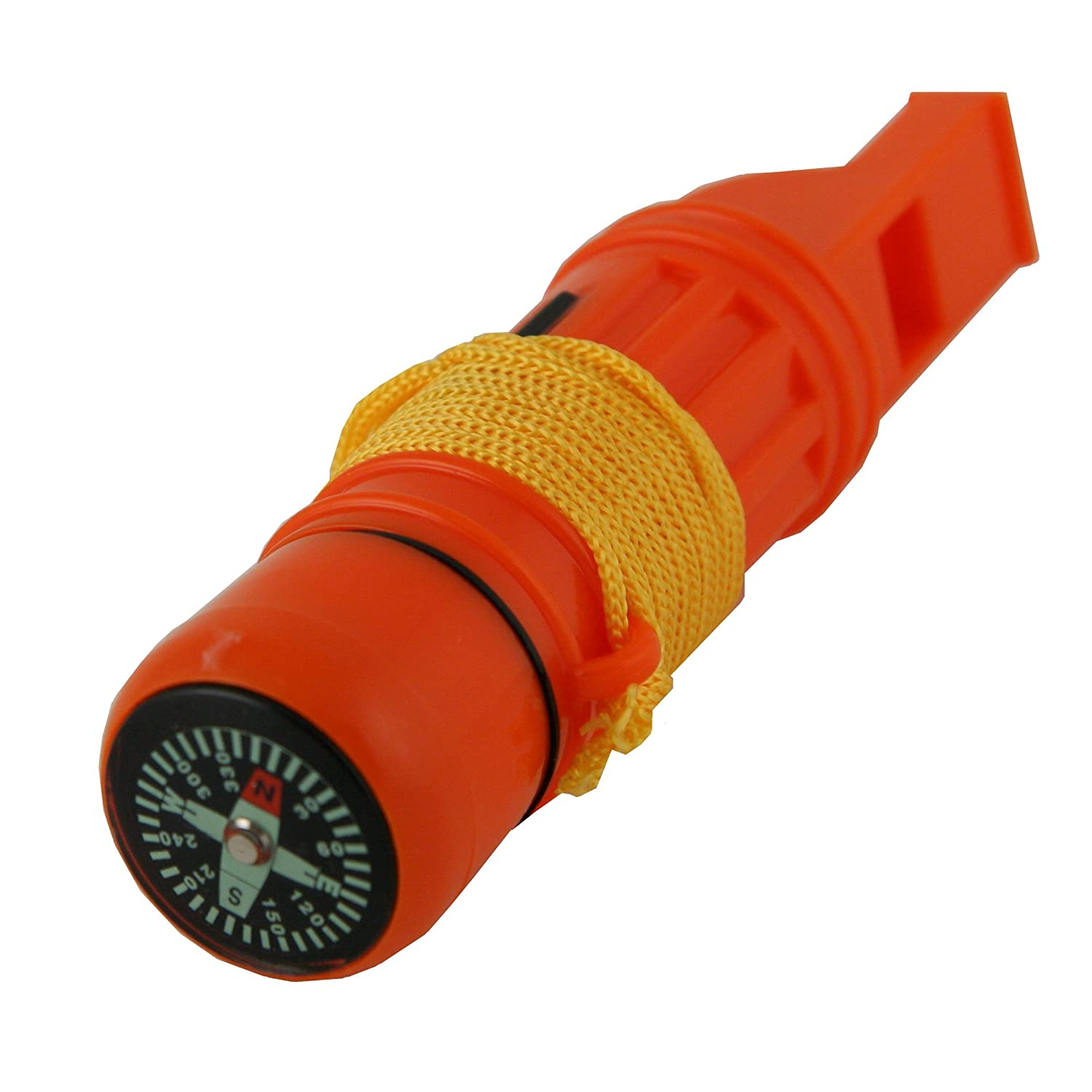 Emergency Zone 5 in 1 Survival Whistle. Compass, Whistle, Water-Resistant Container, Signal Mirror, Ferro Rod. Available in 1, 3, 30, and 300 Pack. Ferro Rod. 1 Pack 212