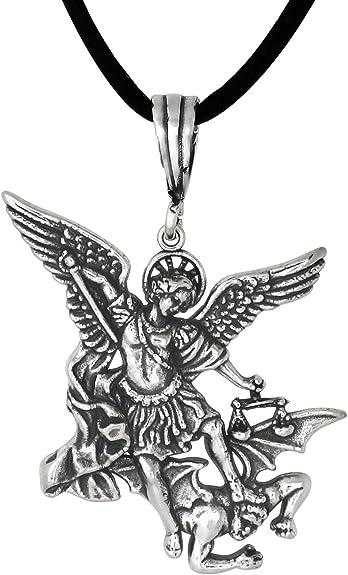 St Michael Archangel Angel of God Pendant 925 sterling silver Necklace