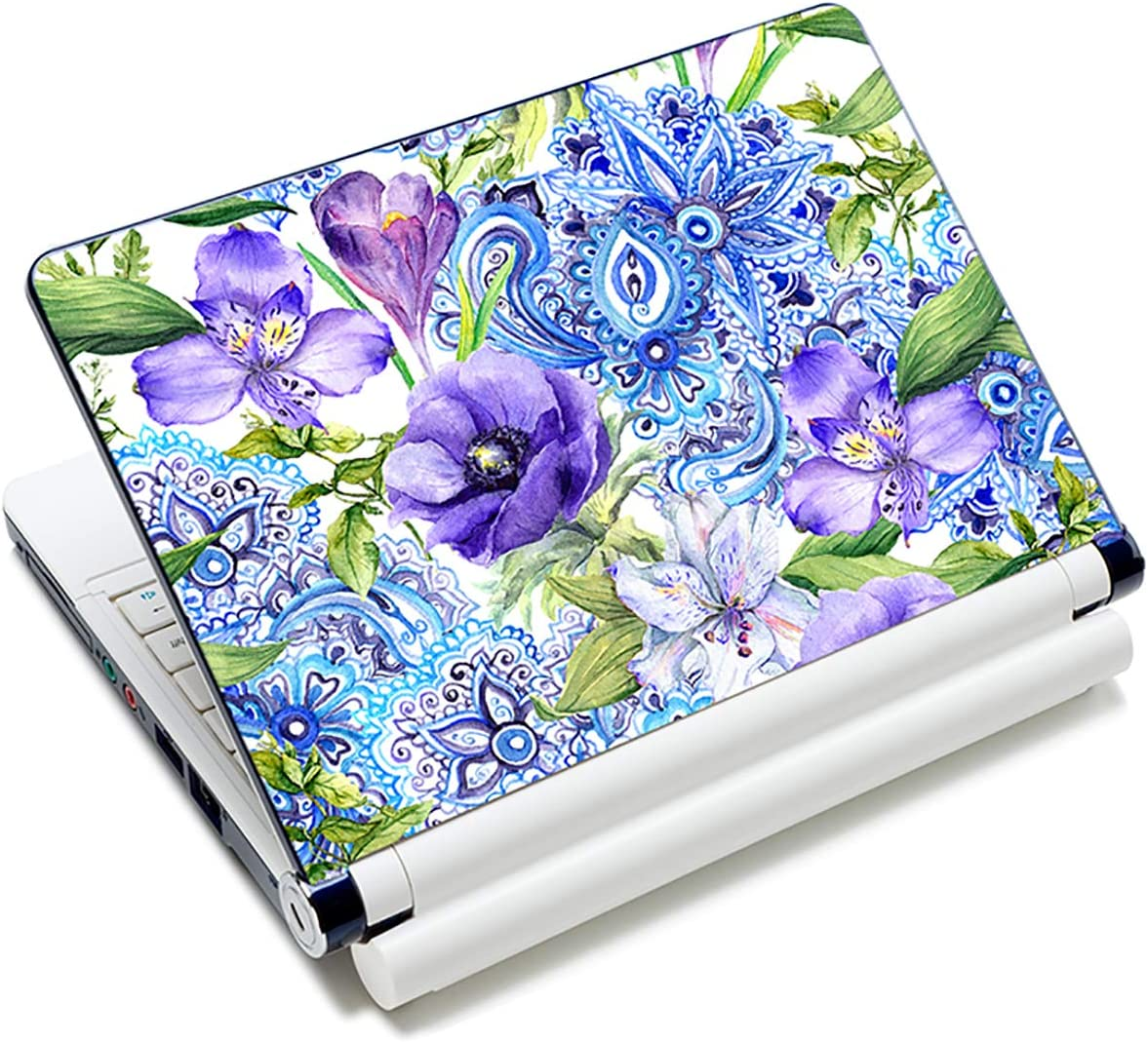 Laptop Stickers Decal,12 13 14 15 15.6 inches Netbook Laptop Skin Sticker Reusable Protector Cover Case for Toshiba Hp Samsung Dell Apple Acer Leonovo Sony Asus Laptop Notebook (Purple Flowers)