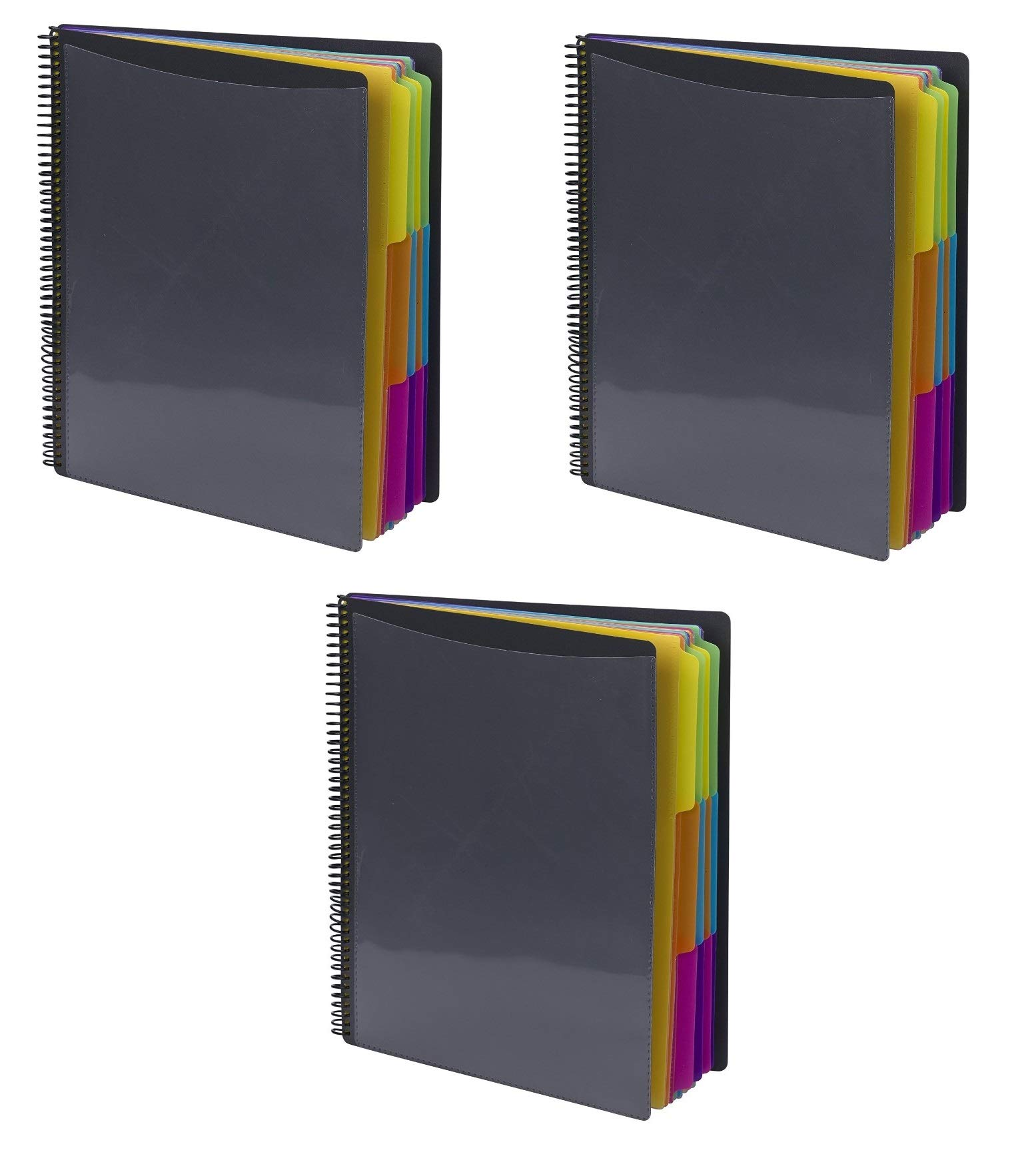 Smead 24 Pocket Poly Project Organizer, Letter Size, 1/3-Cut tab, Gray with Bright Colors, 3 Pack (89206) by Smead