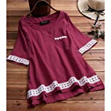 Women's Casual Tees Plus Size Loose Tops Linen