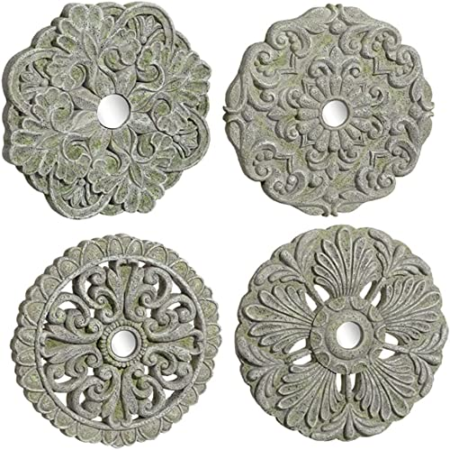 Grasslands Road Medallion Wall D cor – Art Wall D cor And Gift, Cement Glass, 6 By 6 Inches, Set Of 4