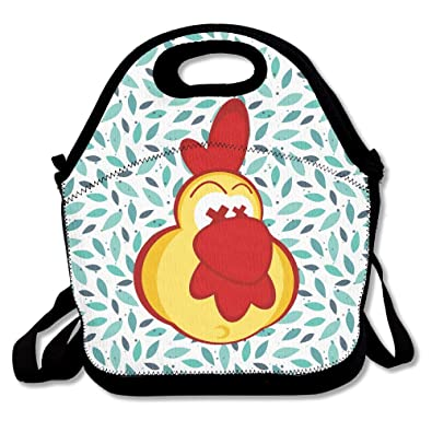 Amazoncom Chicken Clipart With Crazy Eyes Insulated Lunch Bag
