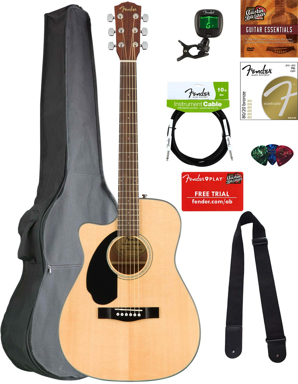 Fender CC-60SCE Concert Acoustic-Electric Guitar - Left Handed, Natural Bundle with Gig Bag, Tuner, Strap, Strings, Picks, Austin Bazaar Instructional DVD, and Polishing Cloth