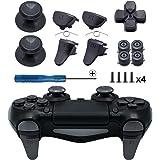 TOMSIN Metal Buttons for PS4 Slim/ PS4 Pro Controller, Aluminum Metal Thumbsticks Analog Grip & Bullet Buttons & D-pad & L1 R1 L2 R2 Trigger for PS4 Controller Gen 2 (Dark Grey)