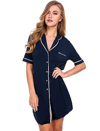 Avidlove Women Nightshirt Sexy Chemise Boyfriend Shirt Dress Loose Nightie  Sleepwear(Navy 481466c8c