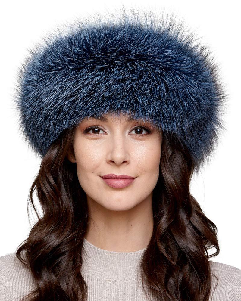Denim Fox Fur Headband