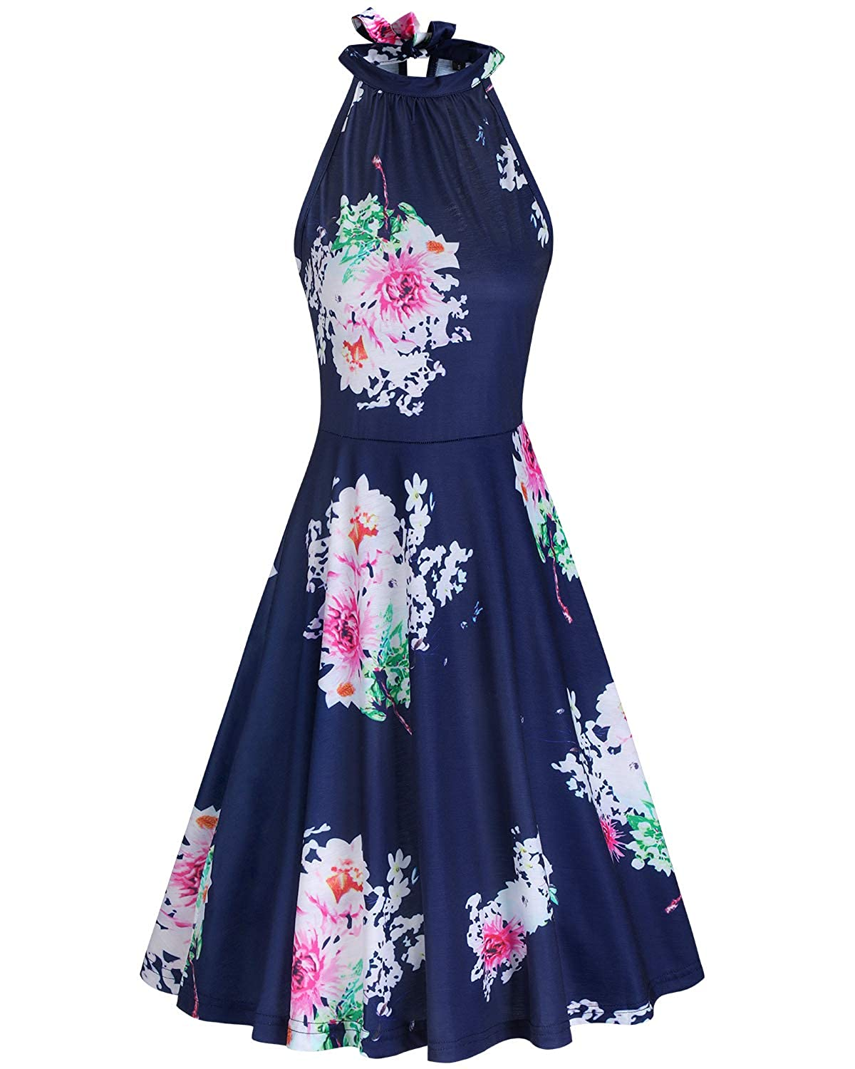 a02ea1c9316 ULTRANICE Women s Halter Neck Floral Summer Casual Sundress at Amazon  Women s Clothing store