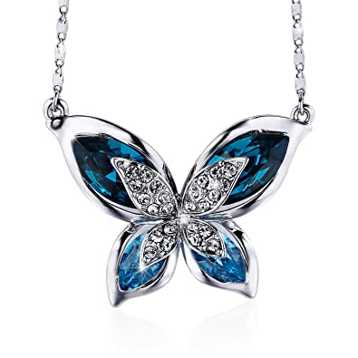 970297814ab97f S SIVERY Butterfly' Women Pendant Necklace with Blue Swarovski Crystals,  Jewelry for Mom Gifts