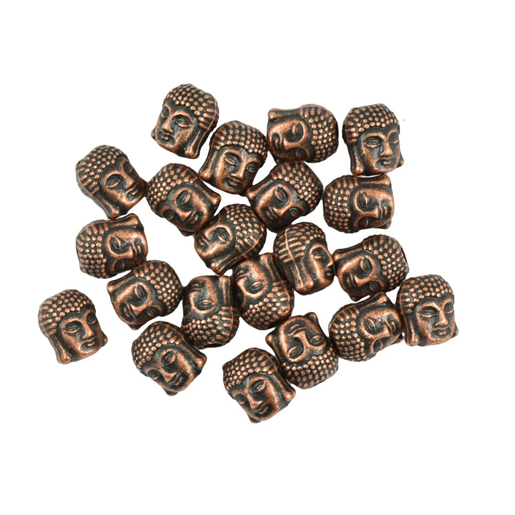 MagiDeal 20 PCS 3D Buddha Spiritual Alloy Spacer Beads Jewelry DIY Making