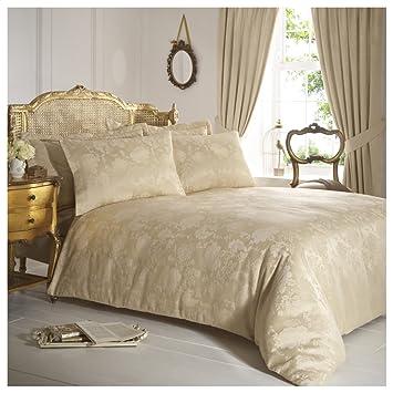 gold duvet cover king size set bedding double home rose damask jacquard