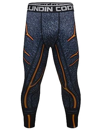 1375929077ff5 Red Plume Men's Compression Elastic Tight Leggings Sport Lightning Printing  Pants (M, Black)
