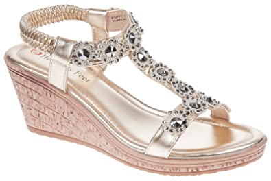72176a83 Heavenly Feet Poppy Womens Ladies Wedge Sandals Gold - Gold - UK Size 5