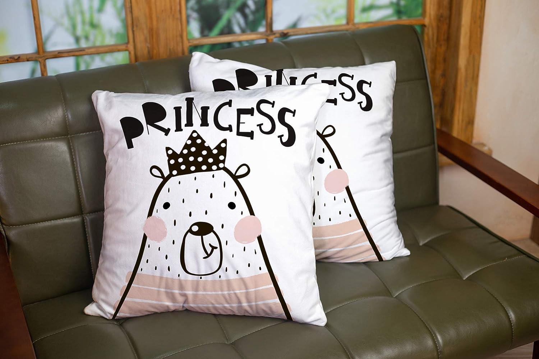 Fundas de almohada, cojín para el hogar, sofá suave para el hogar, fundas de almohada decorativas, corona de niña de oso de dibujos animados lindo en estilo escandinavo, estampado infantil, guardería,