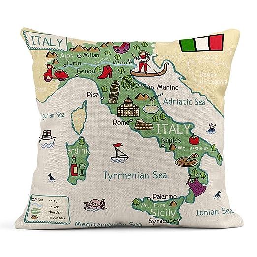 Cojín Ciudad Mapa de Dibujos Animados de Italia Europa Torre ...