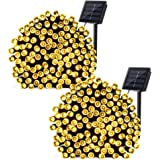 Qedertek 2 Pack Solar String Lights, 72ft 200 LED Solar Fairy Lights Decorative Lighting for Wedding, Garden, Home, Patio, Porch, Lawn, Party and Holiday Decorations (Warm White)