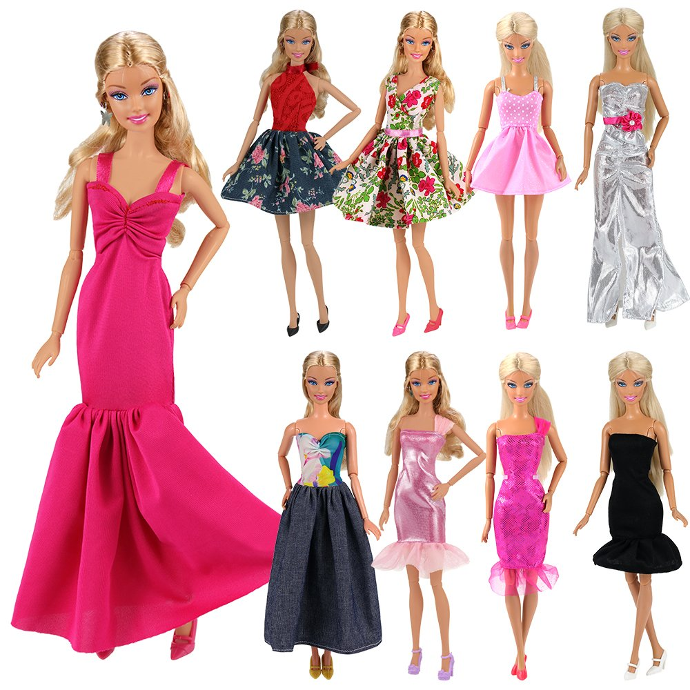 Barwa 15 items =5 Sets Fashion Wear Clothes Dress +10 Pair Shoes for Barbie Doll Random Style