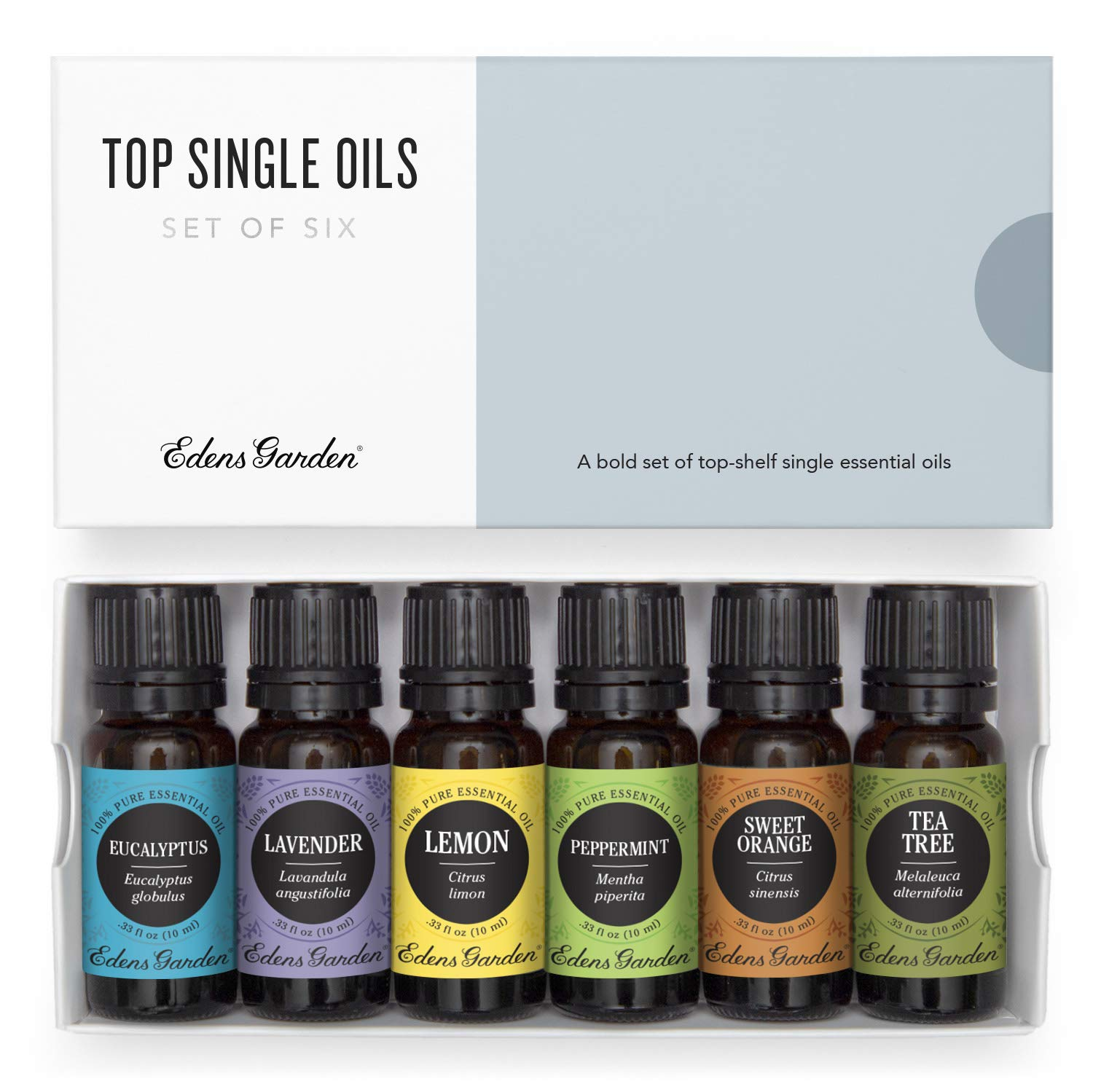 Edens Garden Top Essential Oil 6 Set, Best 100% Pure Aromatherapy Intro Kit (For Diffuser & Therapeutic Use), 10 ml