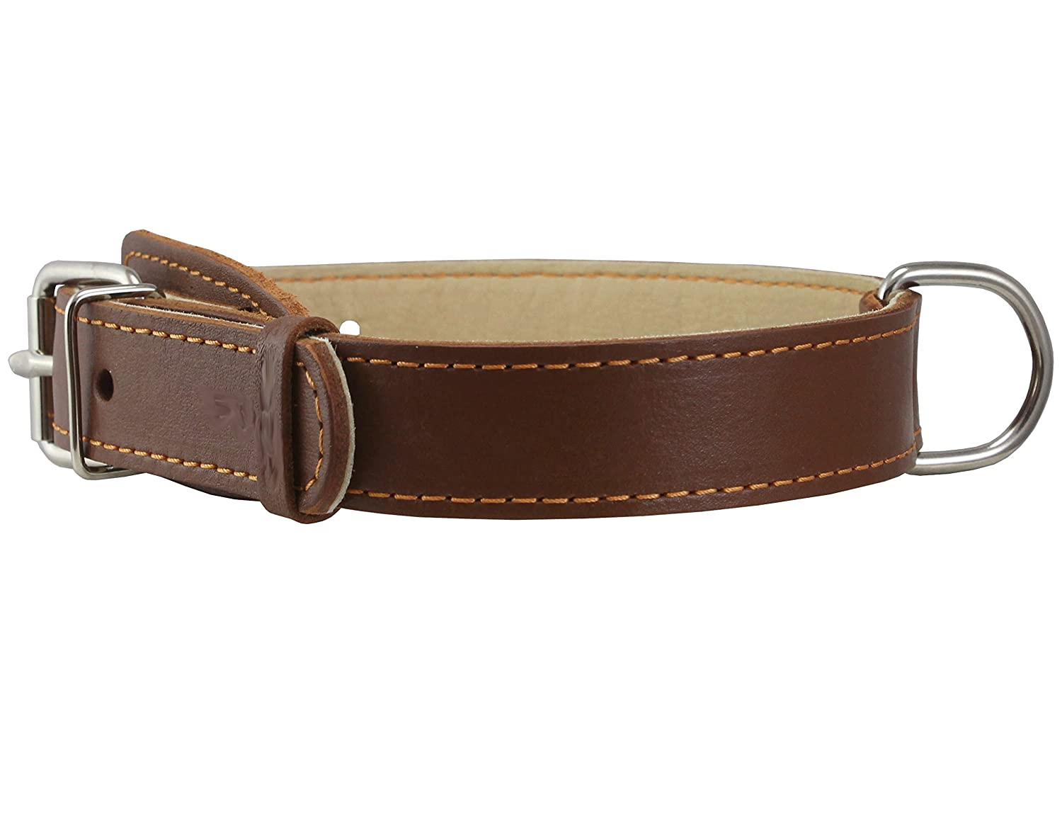 Genuine Thick Leather Collar for Medium Dogs 15 -20  Neck Size, 1  Wide, Brown