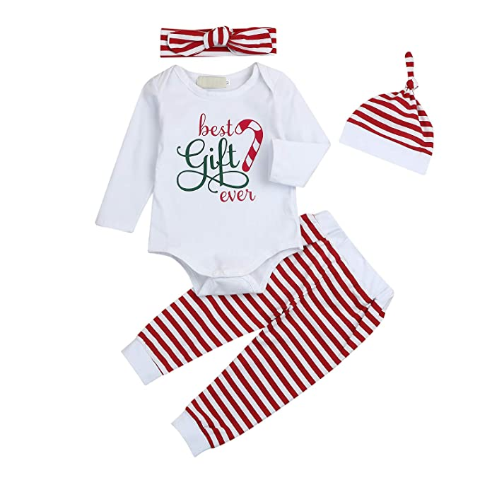 afe962c09ae9 Amazon.com  Seven Young 4Pcs Baby Girls Clothes Letters Romper Long ...