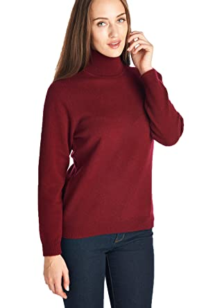 High Style Women's 100% Cashmere Long Sleeve TurtleNeck Sweater at ...
