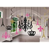Amazon cardboard silver glitter chandelier toys games amscan party supplies a day in paris chandelier decorating kit 17pc multi color aloadofball Choice Image