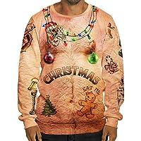 AIMEE7_Sweat Homme Noël Sweat-Shirts Nouveauté 3D Impression Pull Hoodie Manches Longues Décontracté Sportif Casual Vêtements
