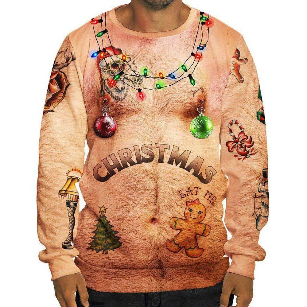 CIELLTE Noël Unisexe Sweat-Shirts Mode Nouveauté Drôle 3D Impression Manches Longues Pulls Décontracté Sportif Casual Grande Taille S-XXXL Festival