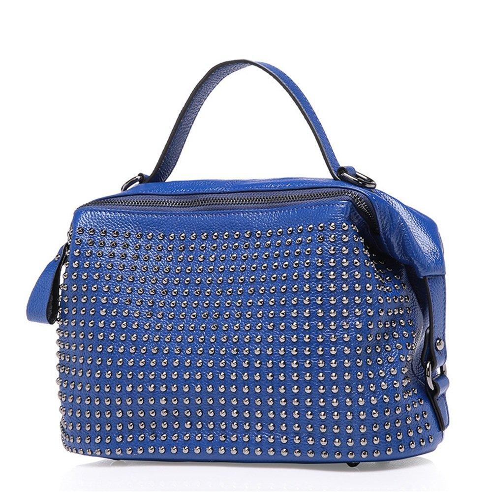 婦人用バッグ本物 ブラックLiubao Baotouzip閉鎖ハンドバッグショルダー対角線ポータブルカジュアルレジャーレザーバッグファッション ファッション (色 : 青) B07MGF4BXC 青