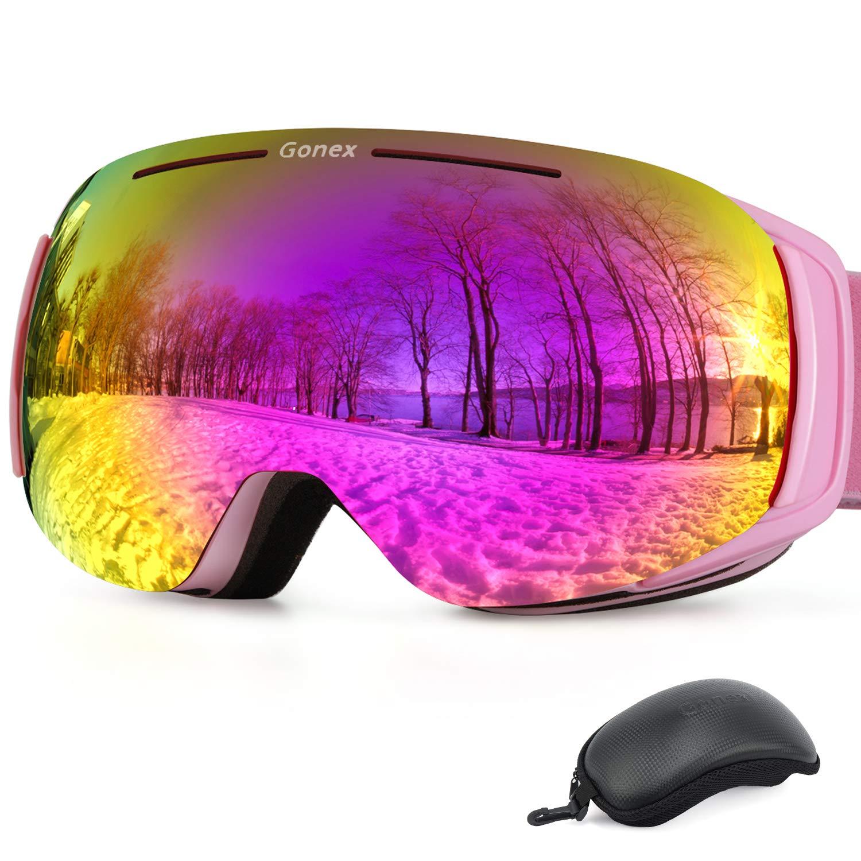 Gonexスキースノーゴーグル防曇UV保護交換可能磁気レンズ用スキースノーボードスケートウィンタースポーツゴーグルケース