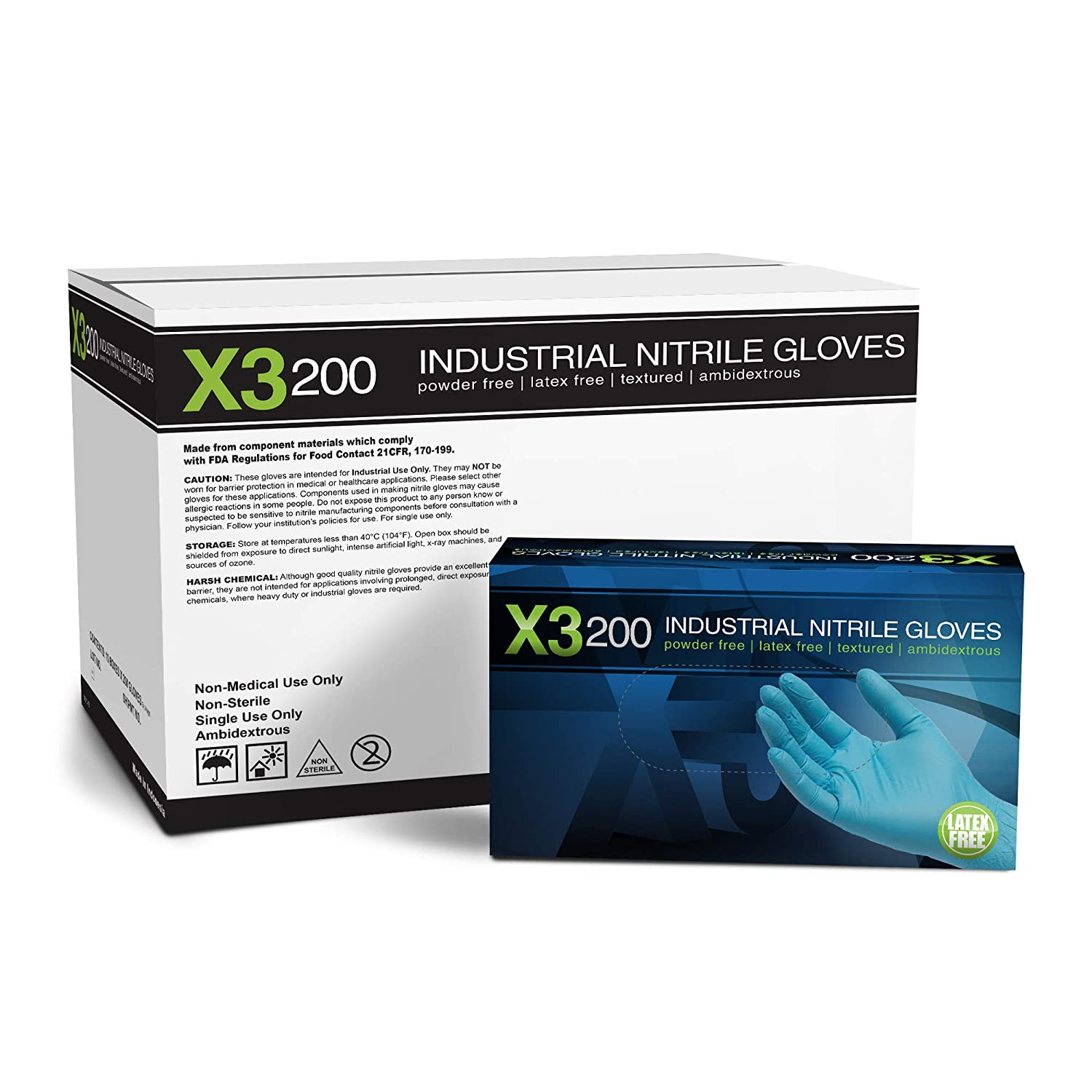 Image of Health and Household X3 Industrial Blue Nitrile Gloves - 3 mil, Latex Free, Powder Free, Textured, Disposable, Large, X3D46100, Case of 2000