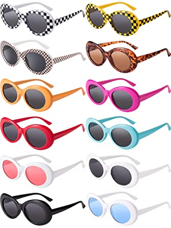 c28cd246660ca 12 Pairs Clout Oval Goggles Retro Thick Frame Punk Round Lens Sunglasses  for Women Men Girls Boys 12 Colors  Amazon.co.uk  Clothing