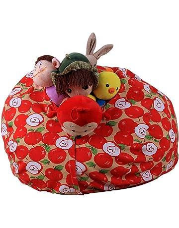 Bolsa de almacenamiento para peluches de Sansee, con patrón a rayas, sillón puf suave
