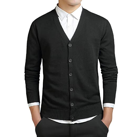 a81148061bb Abetteric Men's Pure Color Open Chest Business Knitwear Cardigan ...