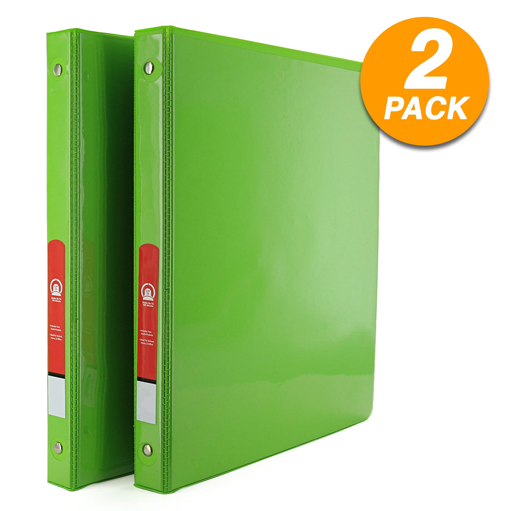 Emraw Super Great 1/2'' 3-Ring View Binder with 2-Pockets - Available in Lime Green - Great for School, Home, Office (2-Pack) by Emraw