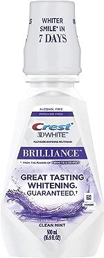 Crest 3D White Brilliance Alcohol Free Whitening Mouthwash Clean Mint 16.9