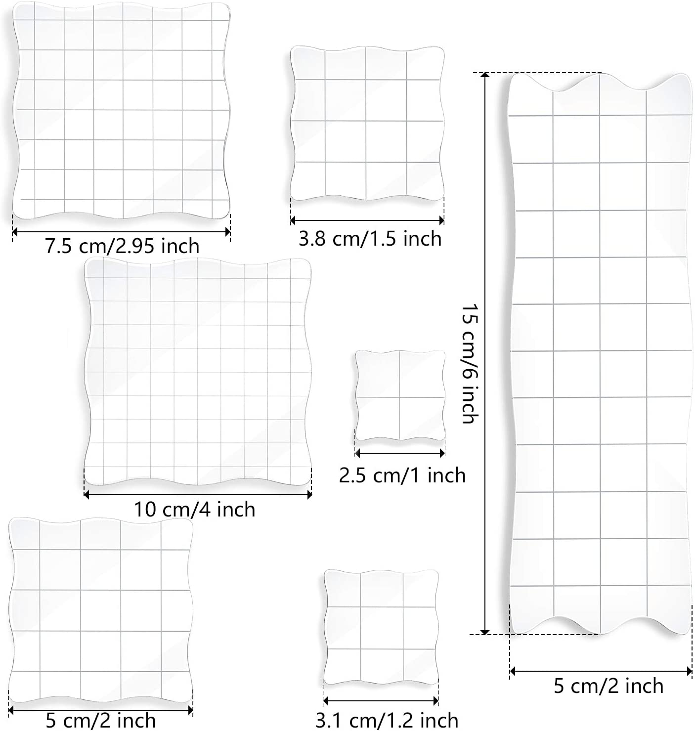 Decorative Stamp Blocks for Scrapbooking Crafts Making 7 Pieces Stamp Blocks Acrylic Clear Stamping Blocks Tools with Grid and Grip DIY Crafts Ornaments