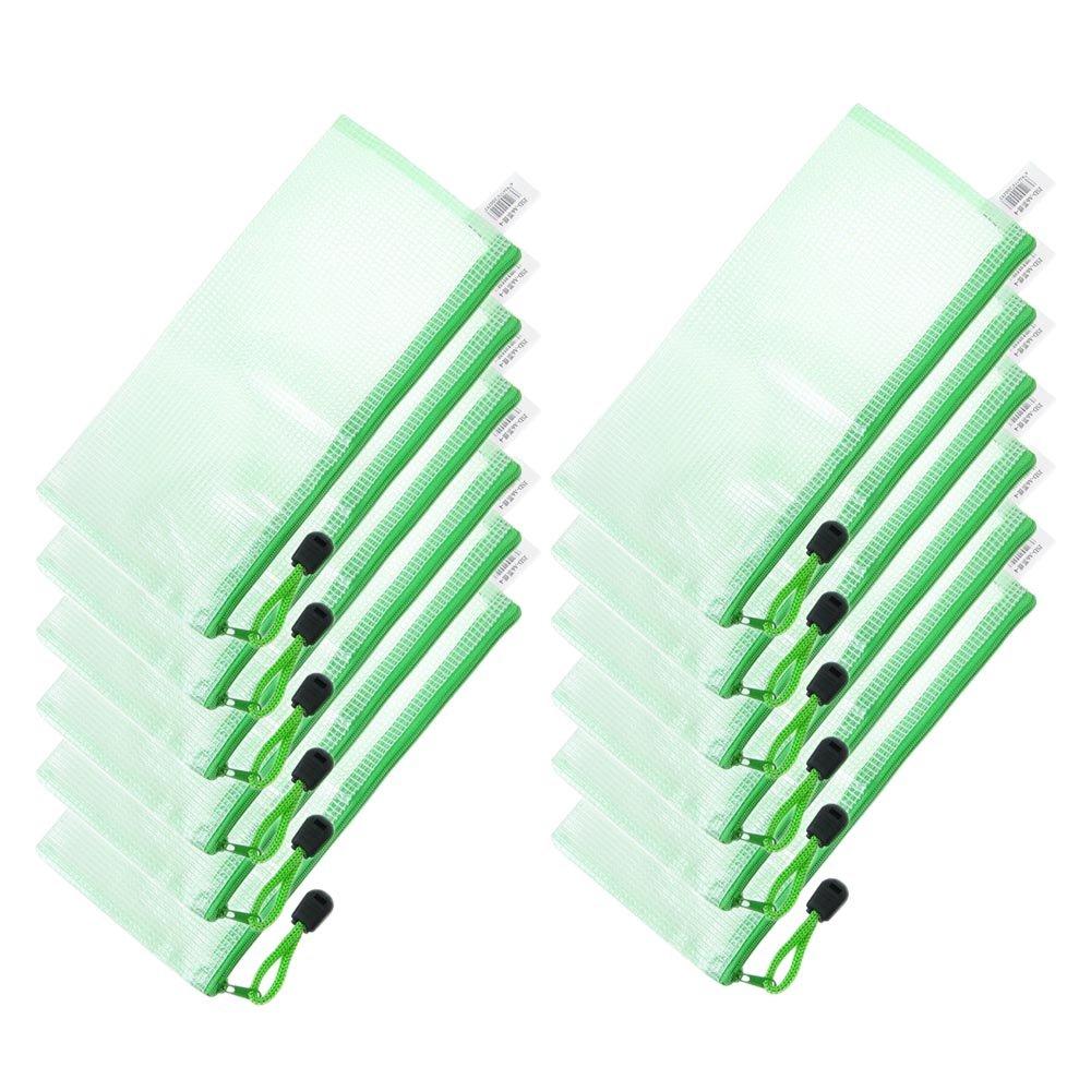 12 pochette portadocumenti e portafogli A6 in PVC con zip ufficio verde per scuola